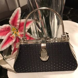 Handbags - Elegant Black and silver evening bag w/rhinestone